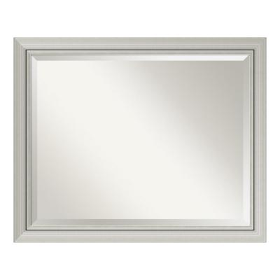 Romano 32 in. W x 26 in. H Framed Rectangular Beveled Edge Bathroom Vanity Mirror in Burnished Silver