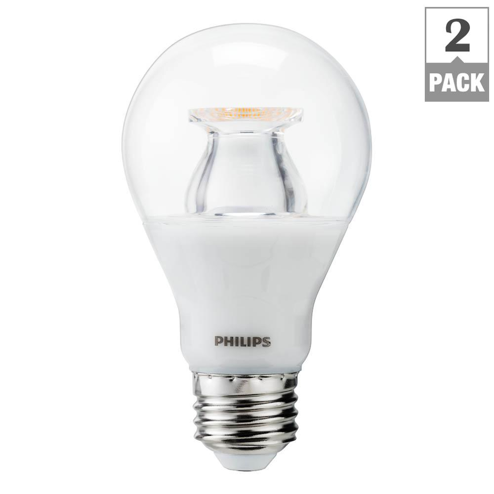 Philips 60 Watt Equivalent A19 LED Light Bulb Soft White Clear Warm Glow  Effect Energy Good Ideas