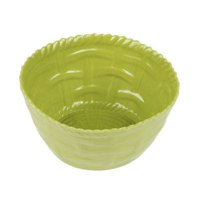 Woven Lime Green Melamine Shallow Bowl