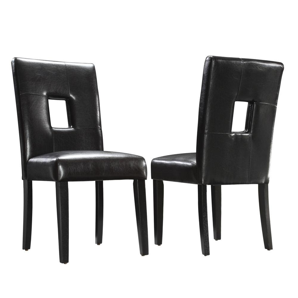 Home Decorators Collection 18 in. H Dark Brown Faux Leather Side Chairs (Set of 2)-DISCONTINUED