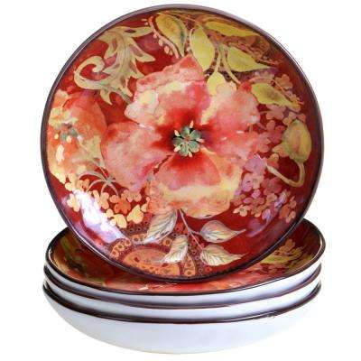 Watercolor Poppies Red Soup and Pasta bowl (Set of 4)