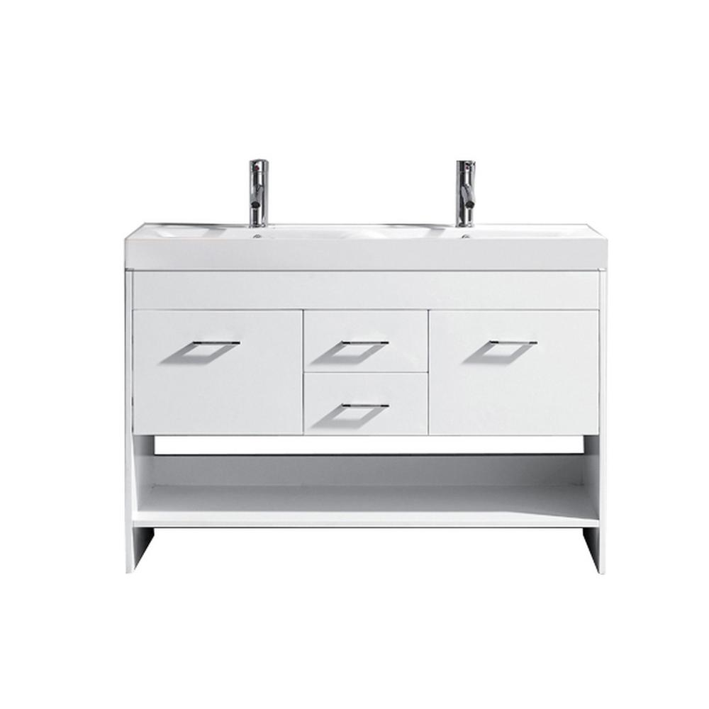 Virtu USA Gloria 48 in. W Bath Vanity in White with Ceramic Vanity Top in White Ceramic with Square Basin and Faucet