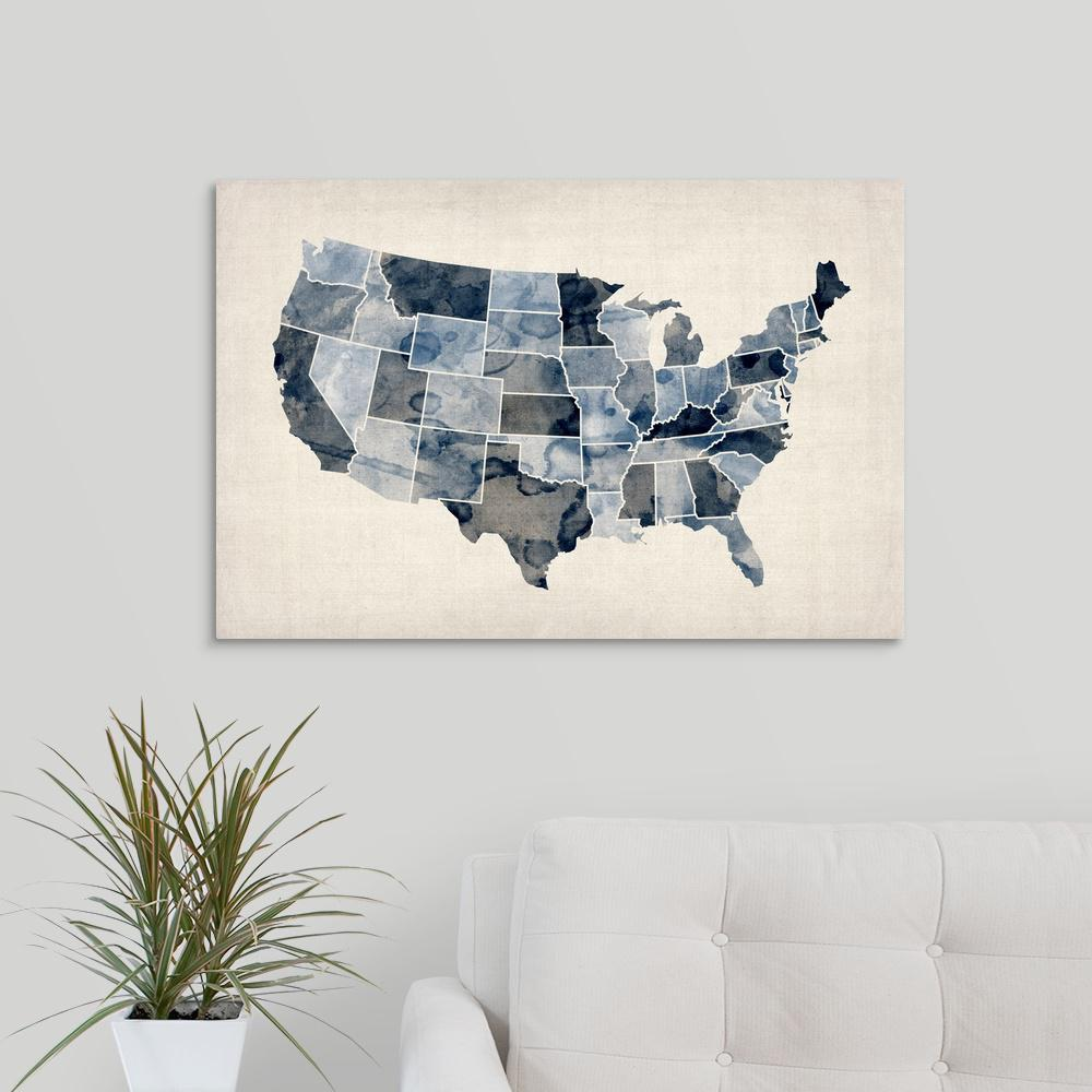 United States Map Canvas Wall Art.Greatbigcanvas Map Of United States Of America Watercolor In Blue
