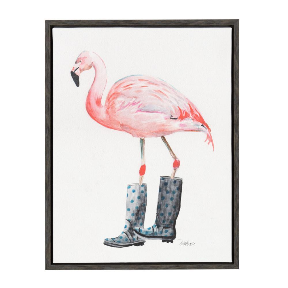 "Sylvie ""Flamingo Boots"" by Redstreake Framed Canvas Wall Art"