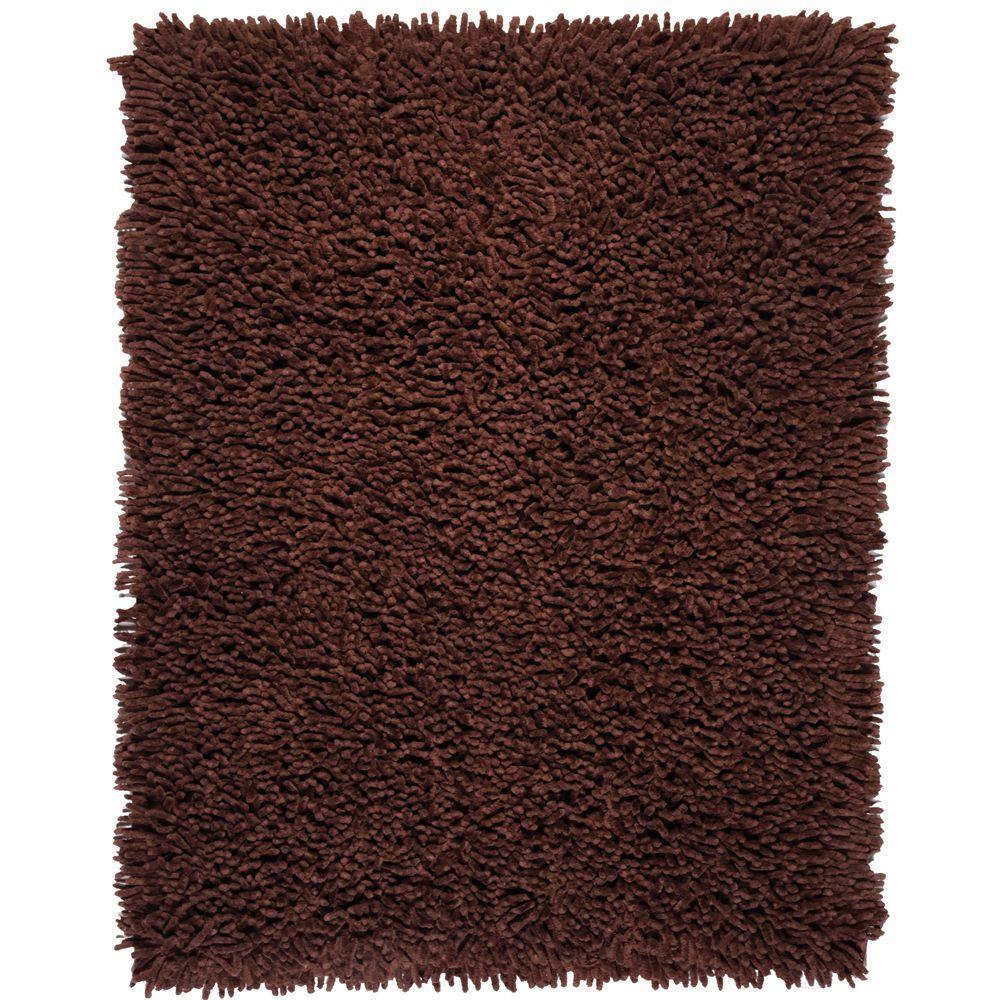 Anji Mountain Coffee Bean Dark Brown 4 ft. x 6 ft. Silky Shag Area Rug