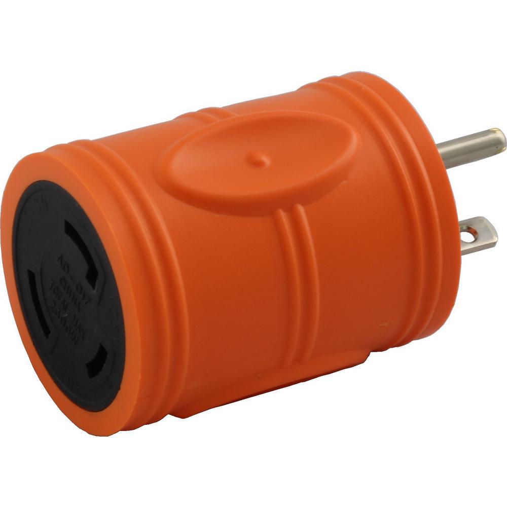 Locking Adapter NEMA 5-20P 20 Amp 125-Volt Straight Blade Plug to L5-30R...
