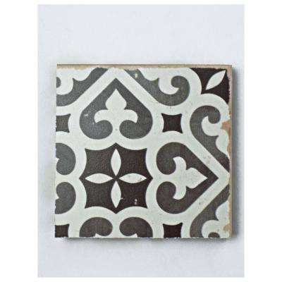 Faenza Nero Encaustic Ceramic Floor and Wall Tile - 3 in. x 4 in. Tile Sample