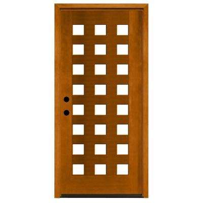 Modern 24 Lite Obscure Stained Mahogany Wood Prehung Front Door