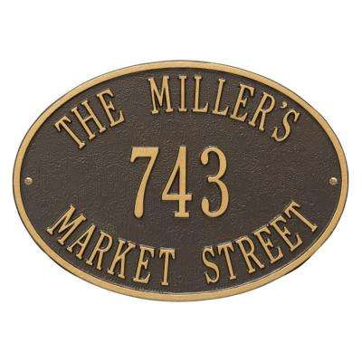 Hawthorne Standard Oval Bronze/Gold Wall 3-Line Address Plaque
