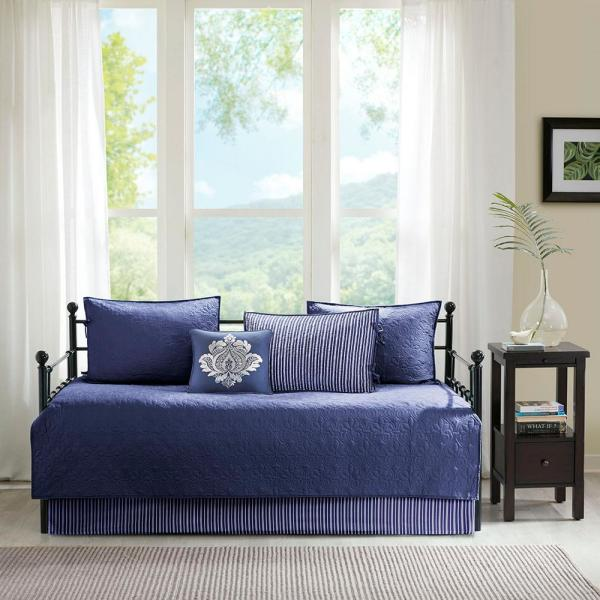 Mansfield 6-Piece Navy Reversible Daybed Bedding Set