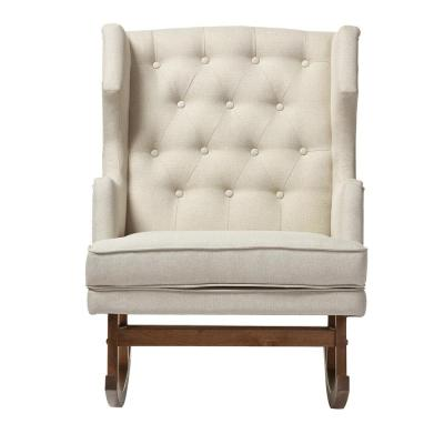 Iona Mid-Century Beige Fabric Upholstered Rocking Chair