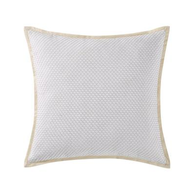 Cove White and Neutral Geometric Hypoallergenic Down Alternative 18 in. x 20 in. Throw Pillow