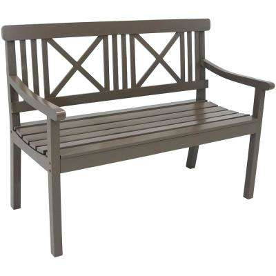 X-Back 47 in. 2-Person Gray Wood Outdoor Bench