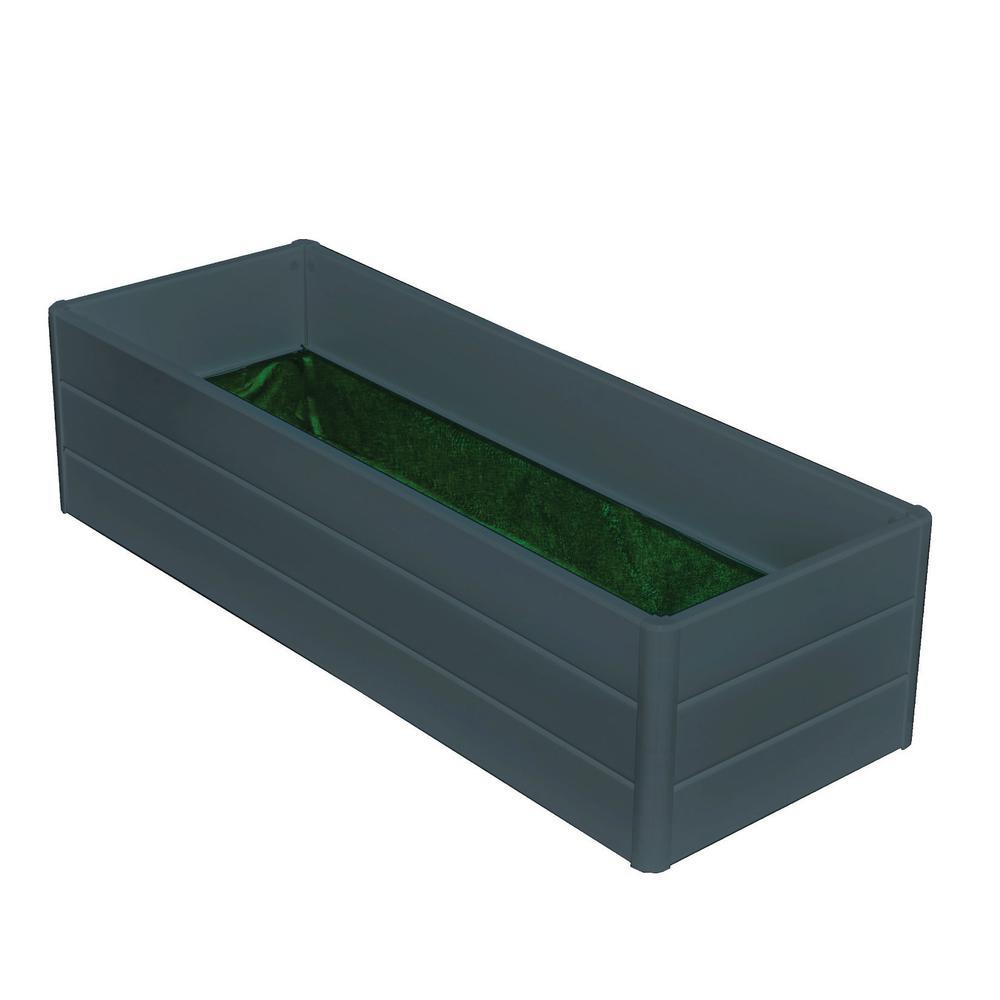 Patio-Deck Raised Garden Box Gray Vinyl