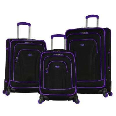 Santa Fe 3-Piece Black/Purple Expandable EVA Spinner Set