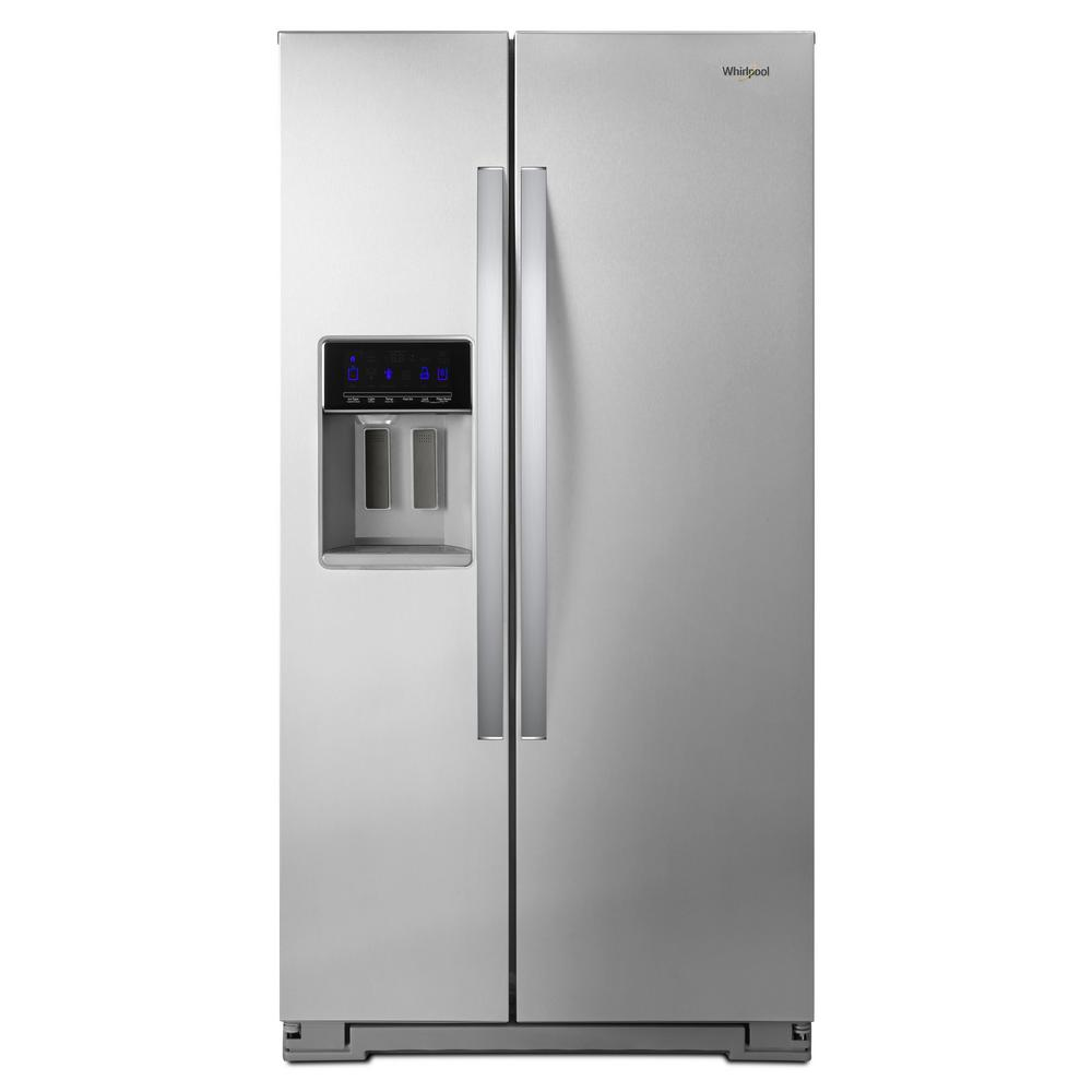 Whirlpool 21 cu. ft. Side By Side Refrigerator in Fingerprint Resistant Stainless Steel, Counter Depth