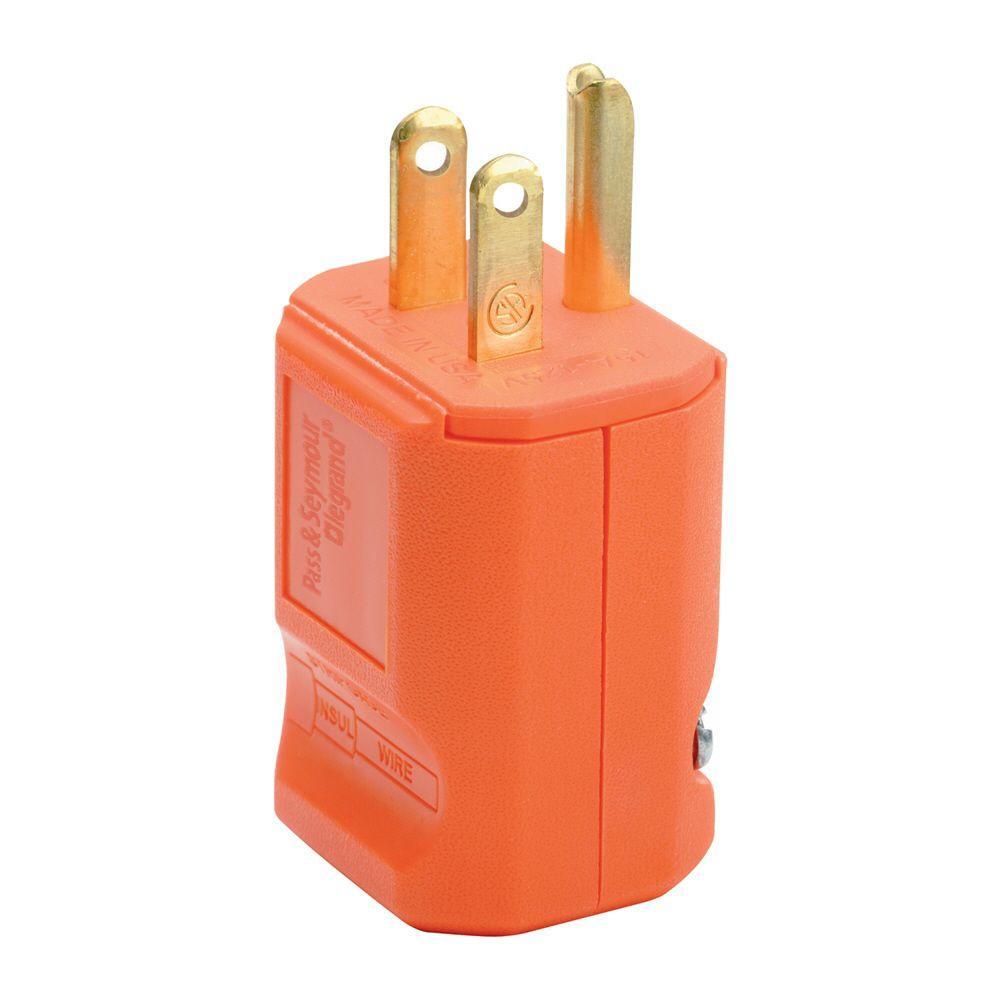Pass & Seymour MaxGrip M3 15 Amp 125-Volt NEMA 5-15P Straight Blade Plug, Orange