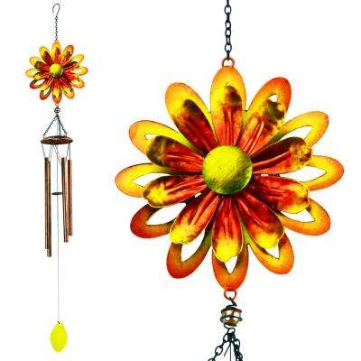 Chime Spinner Metal Flower Yellow