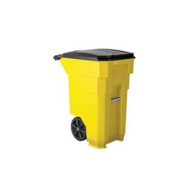 50 Gal. Yellow Plastic Curbside Commercial Trash Can With Wheels And Attached Lid