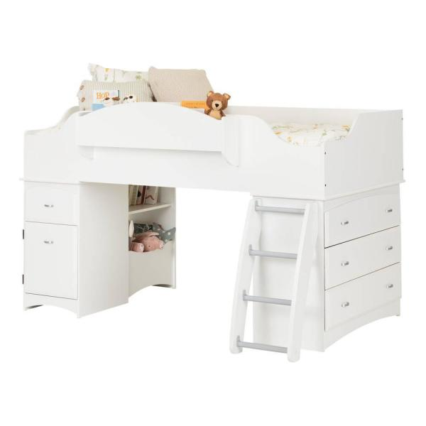 South Shore Imagine 4-Drawer Pure White Twin-Size Loft Bed 3560A3