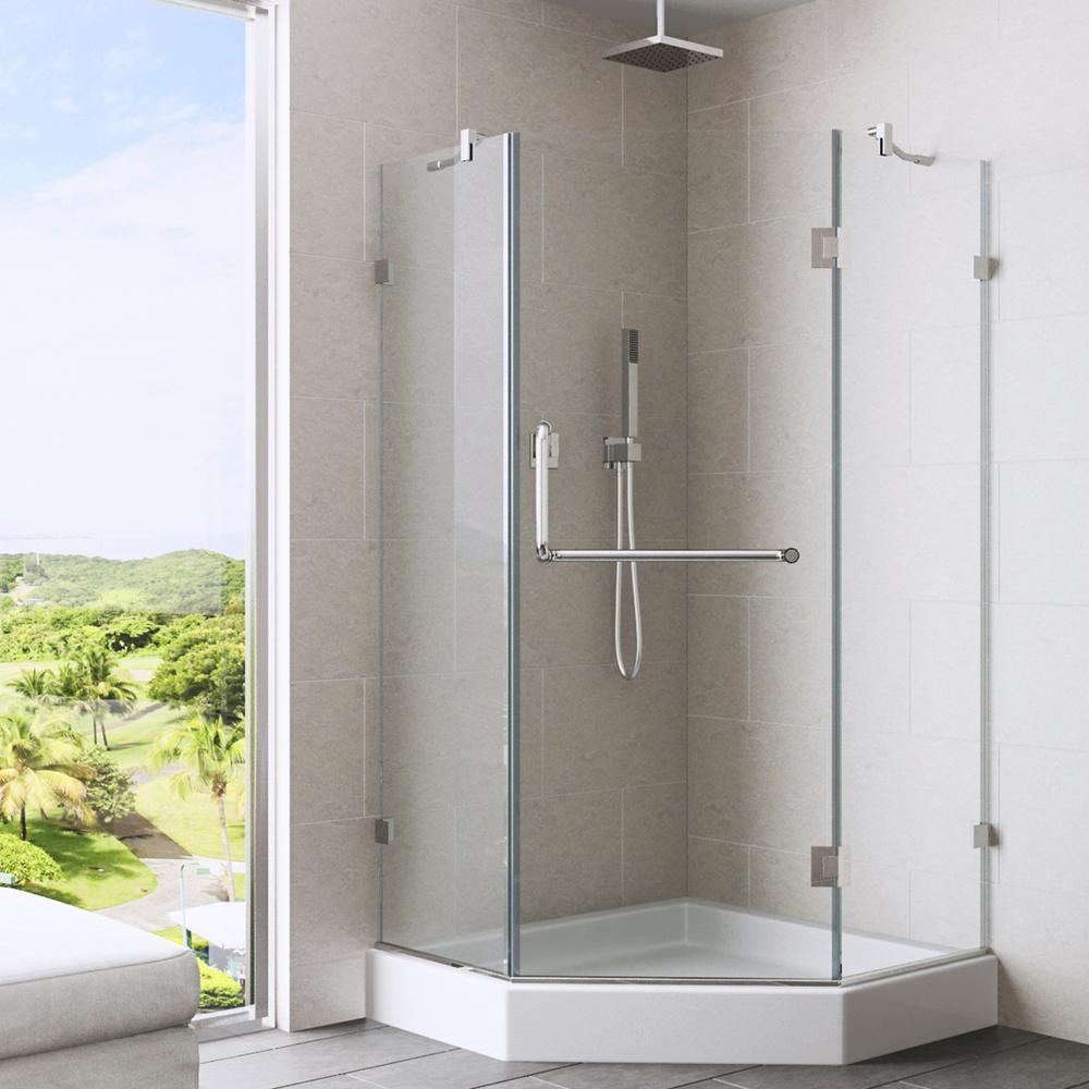 VIGO Piedmont 40.25 in. x 78.75 in. Frameless Neo-Angle Shower Enclosure in Brushed Nickel and Clear Glass with Base in White