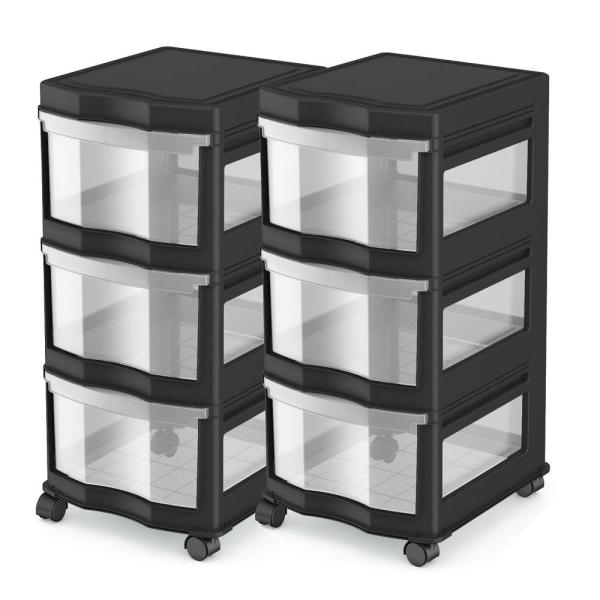 Life Story Classic 27.75 in. H x 13.2 in. W x 15.5 in. D 3 Shelf Storage Organizer Plastic Drawers Black (2-Pack)