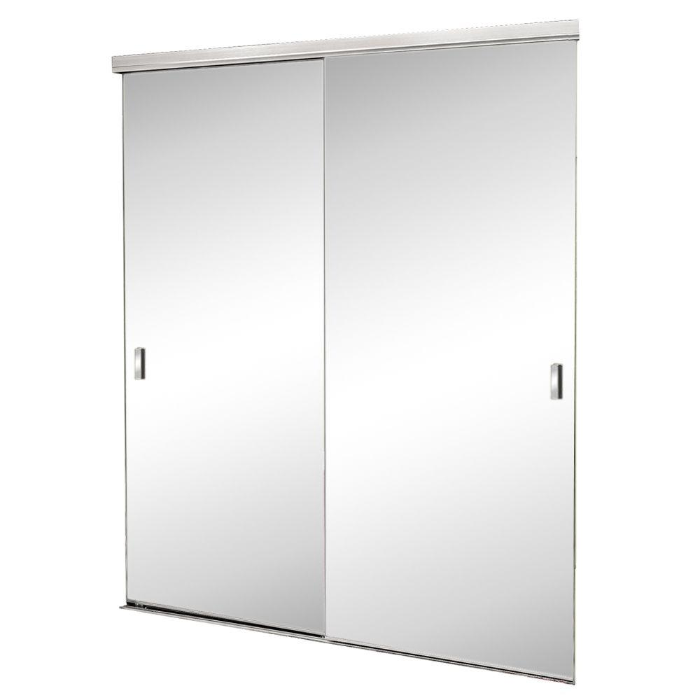 72 in. x 80 in. Trim Line Beveled Mirror Bright Clear Finish ... Mirrored Closet Doors X on