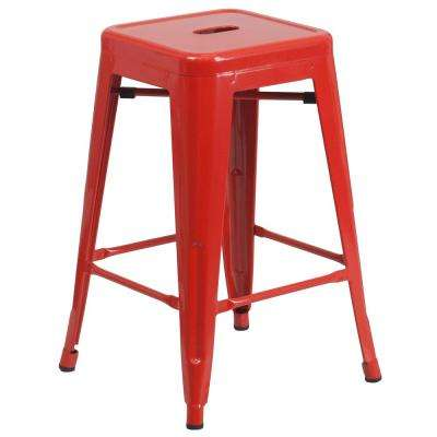 24 in. Red Bar Stool