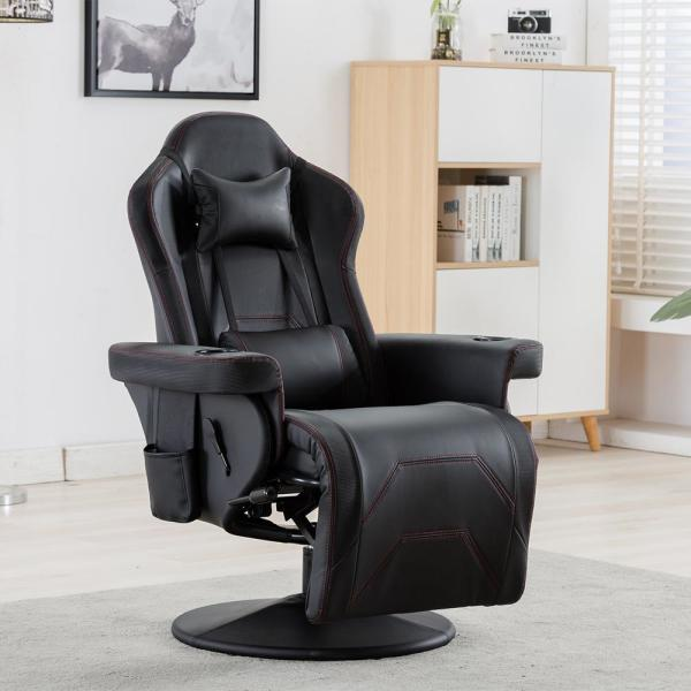 Merax High End Black Pu Reclining Gaming Chair Pp191981aab The Home Depot