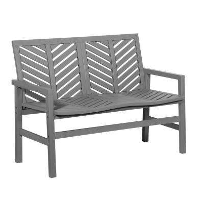 Grey Wash Acacia Wood Outdoor Loveseat with Chevron Design