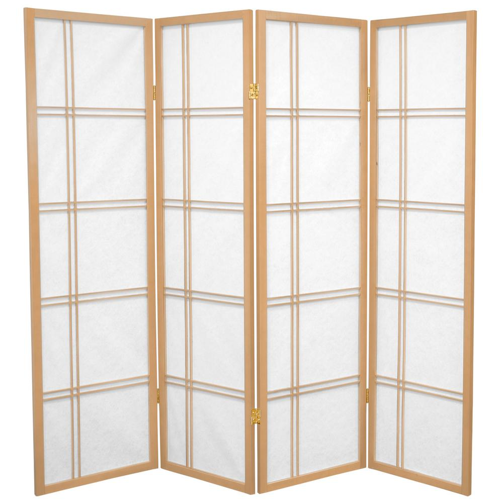 5 ft Natural 4 Panel Room Divider DC60 NAT 4P The Home Depot