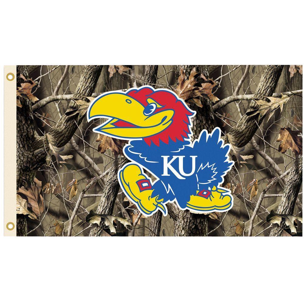 BSI Products NCAA 3 ft. x 5 ft. Realtree Camo Background Kansas Flag