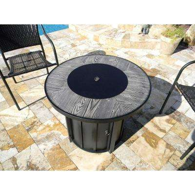 40,000 BTU 30 in. Round Gray Faux Wood Tile Top Propane Fire Pit