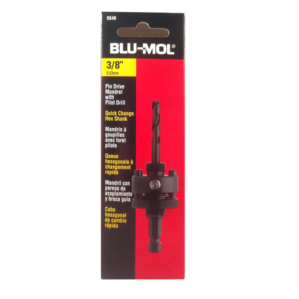 BLU-MOL 3/8 in. Hex Shank Pin Drive Mandrel Hole Saw Accessory for 1-1/4 in. x 6 in. Bi-Metal Hole Saws