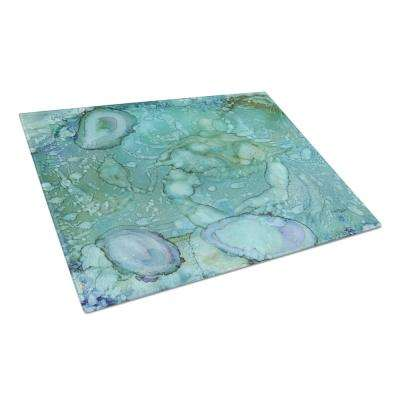 Abstract Crabs and Oysters Tempered Glass Large Heat Resistant Cutting Board