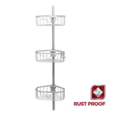 Rustproof Tension Pole Shower Caddy in Satin Chrome and Frosted
