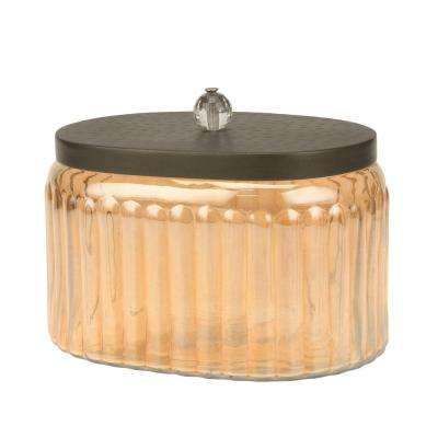 Amber Glass Canister with Hammered Metal Lid