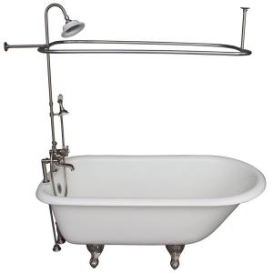 Barclay Products 5.6 ft. Cast Iron Ball and Claw Feet Roll Top Tub in White with Brushed Nickel Accessories by Barclay Products