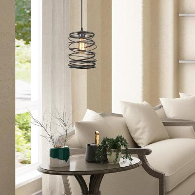Lavie 8 in. 1-Light Rustic Black Contemporary Spiral Modern Farmhouse Pendant Small Chandelier with Iron Lantern Cage