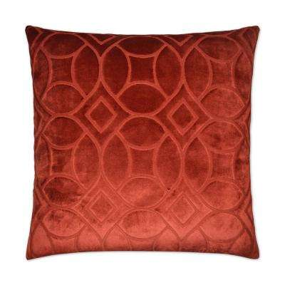 Reidshire Cinnabar Feather Down 24 in. x 24 in. Decorative Throw Pillow