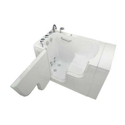 Wheelchair Transfer 52 in. Acrylic Walk-In Whirlpool Bathtub in White with Faucet Set, Heated Seat, LHS 2 in. Dual Drain