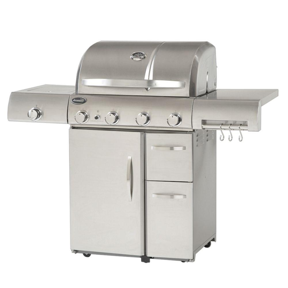 Aussie deluxe 4 burner propane gas grill in stainless steel 6480 ds the home depot - All stainless steel grill ...