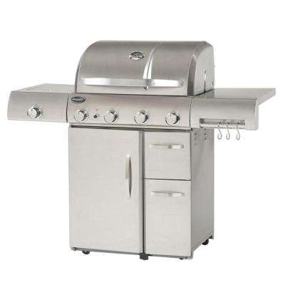 Deluxe 4-Burner Propane Gas Grill in Stainless Steel
