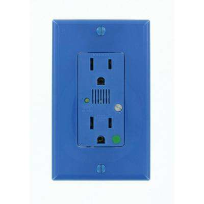 Decora Plus 15 Amp Hospital Grade Extra Heavy Duty Self Grounding Duplex Surge Outlet with Audible Alarm, Blue