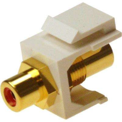 RCA Red F/F Feed-Through Snap-In Keystone Jack Insert - White