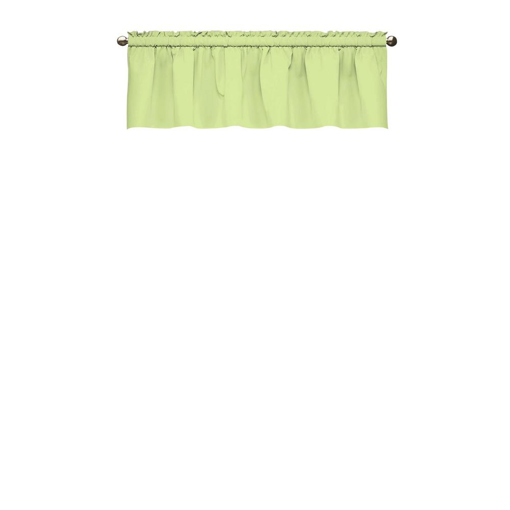 18 in. L Kids Microfiber Polyester Blackout Window Valance in Green