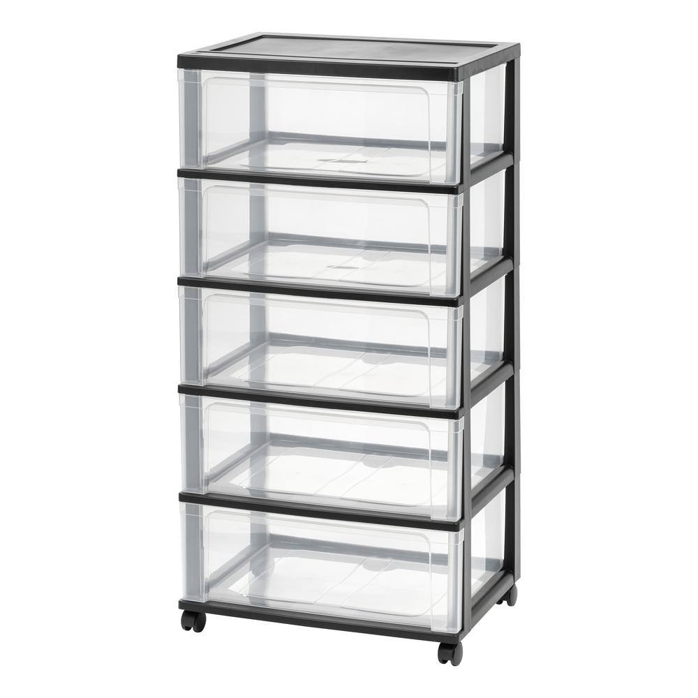 5 Drawer Plastic Wheeled Wide Chest In Black