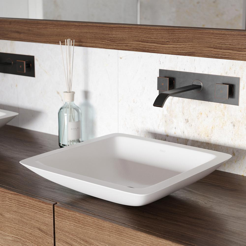 VIGO Begonia Matte Stone Vessel Sink In White With Titus Wall Mount Faucet  In Antique Rubbed
