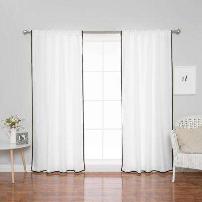 96 in. L Polyester Oxford Thin Black Border Curtains in White (2-Pack)