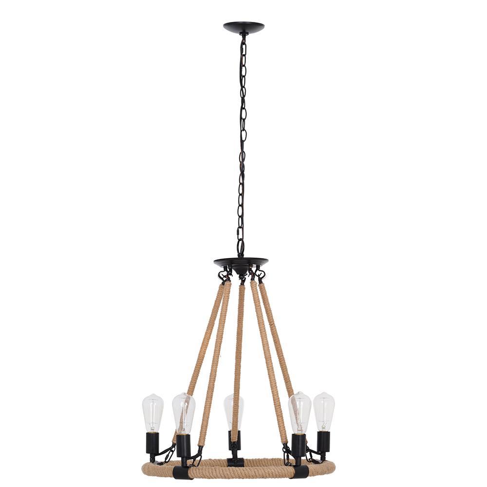 5-Light Matte Black Modern Rustic Farmhouse Chandelier and LED Bulb